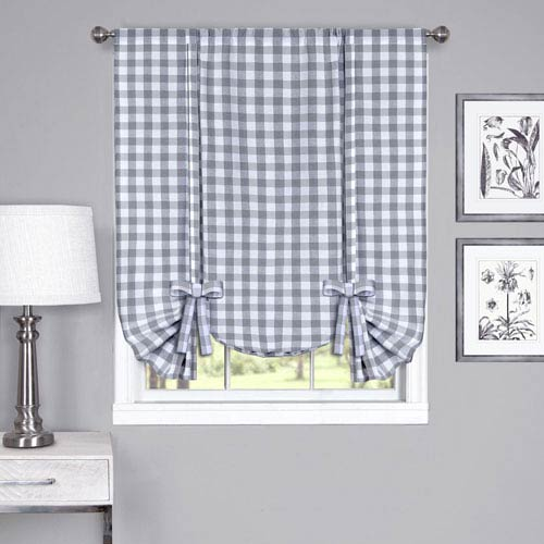 Buffalo Check Gray 42 x 63-Inch Window Tie Up Shade