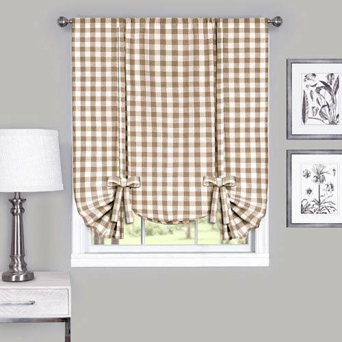 Buffalo Check Taupe 42 x 63-Inch Window Tie Up Shade