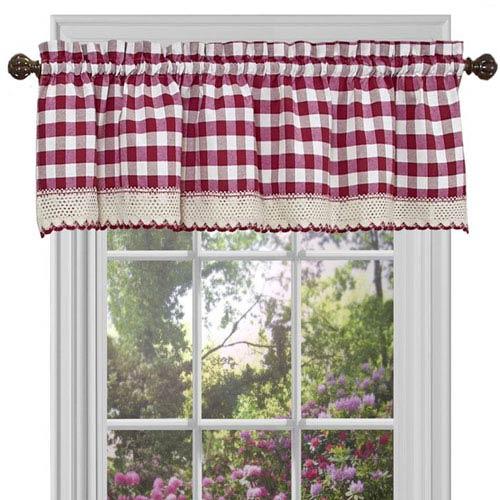 Buffalo Check Burgundy 58 x 14-Inch Window Curtain Valance