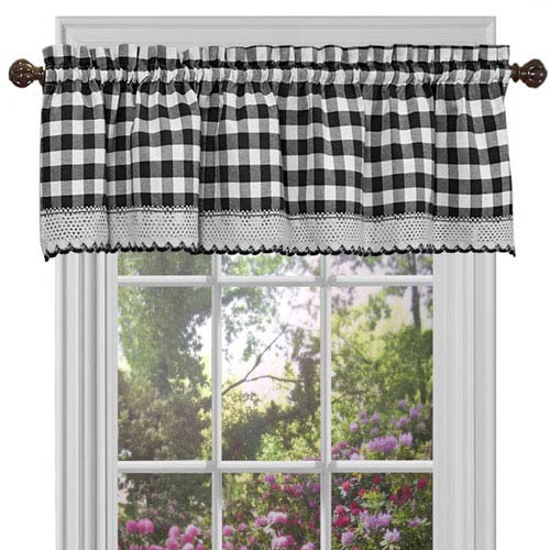 Achim Importing Company Buffalo Check Black 58 x 14-Inch Window Curtain Valance