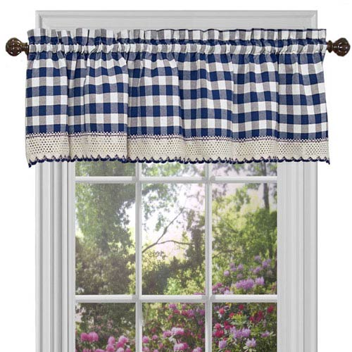 Achim Importing Company Buffalo Check Navy 58 x 14-Inch Window Curtain Valance