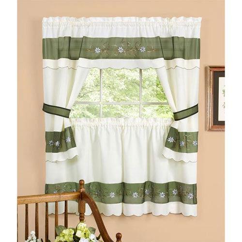Achim Importing Company Berkshire Green Embellished Cottage Window Curtain Set