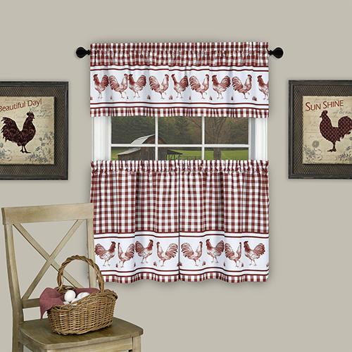 Barnyard Burgundy 58 x 36 In. Window Curtain Tier Pair and Valance Set