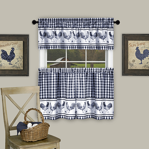 Barnyard Navy 58 x 36 In. Window Curtain Tier Pair and Valance Set