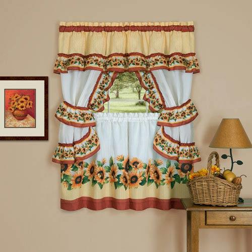 Black Eyed Susan Spice 57 x 24-Inch Cottage Window Curtain Set