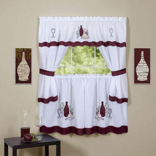 Cabernet Burgundy Embellished Cottage Window Curtain Set