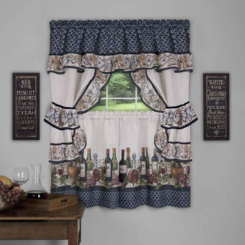 Achim Importing Company Chateau Cottage Navy 57 x 24-Inch Window Curtain Set