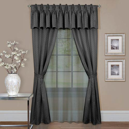 Claire Charcoal 63 x 55 In., Six-Piece Window Curtain Set