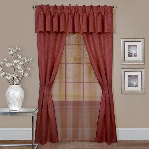 Claire Marsala 84 x 55 In., Six-Piece Window Curtain Set