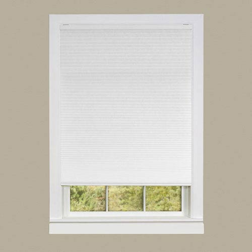 Achim Importing Company Cordless Honeycomb Cellular Pleated White 64 x 30-Inch Pleated Shade