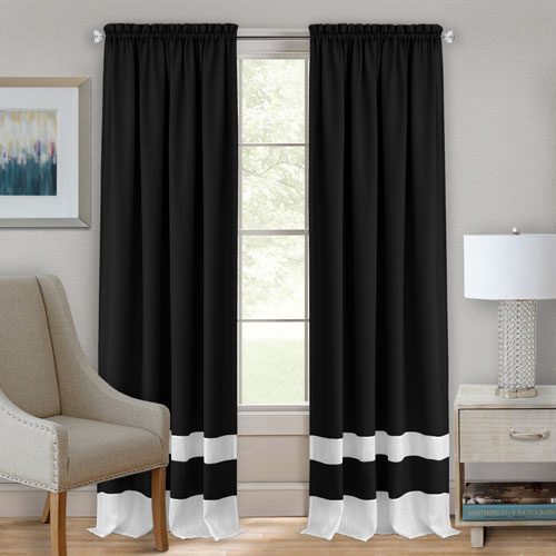 Achim Importing Company Darcy Black and White 63 x 52 In. Window Curtain Panel