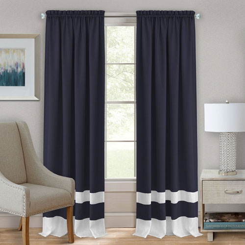 Darcy Navy and White 63 x 52 In. Window Curtain Panel