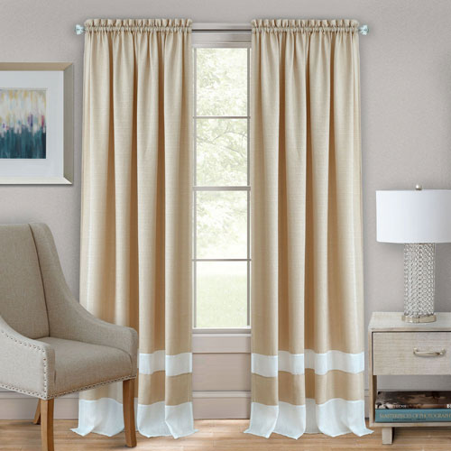 Achim Importing Company Darcy Tan and White 63 x 52 In. Window Curtain Panel