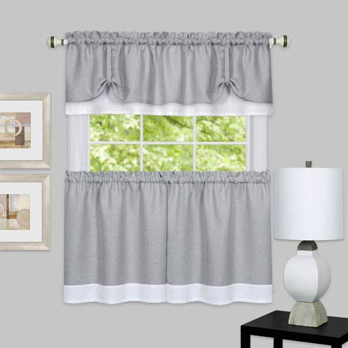 Darcy Gray and White Window Tier and Valance Set