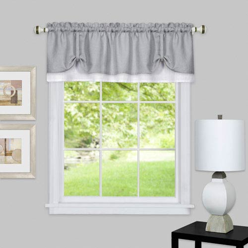 Darcy Gray and White 58 x 14-Inch Window Valance