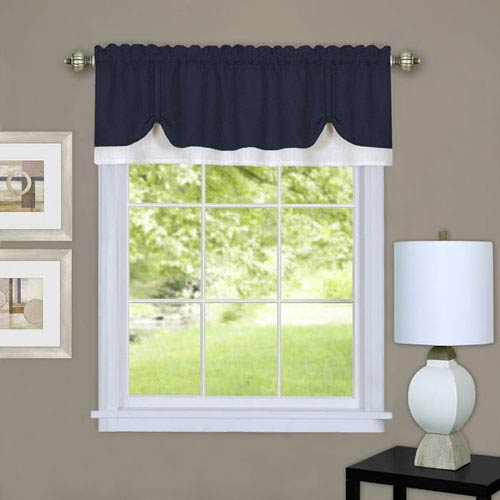 Darcy Navy and White 58 x 14-Inch Window Valance