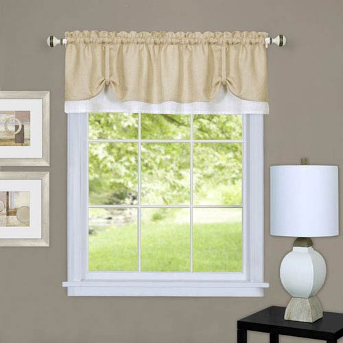 Darcy Tan and White 58 x 14-Inch Window Valance