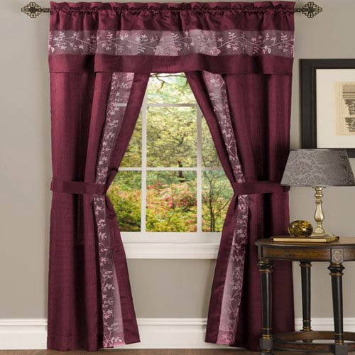 Achim Importing Company Fairfield Burgundy 63 x 55 In. Five-Piece Window Curtain Set