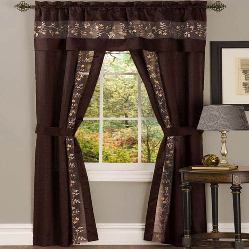 Achim Importing Company Fairfield Chocolate 63 x 55 In. Five-Piece Window Curtain Set