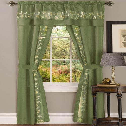 Achim Importing Company Fairfield Sage 63 x 55 In. Five-Piece Window Curtain Set
