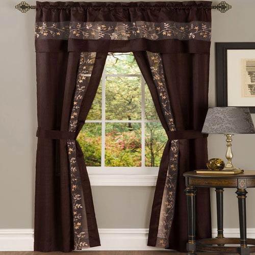 Achim Importing Company Fairfield Chocolate 84 x 55 In. Five-Piece Window Curtain Set