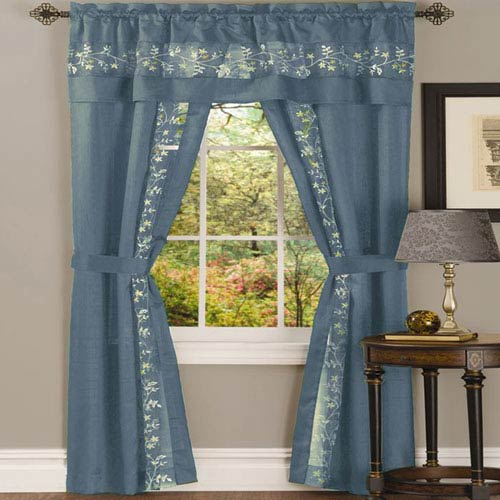 Achim Importing Company Fairfield Ice Blue 84 x 55 In. Five-Piece Window Curtain Set