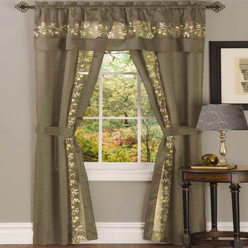 Fairfield Taupe 84 x 55 In. Five-Piece Window Curtain Set
