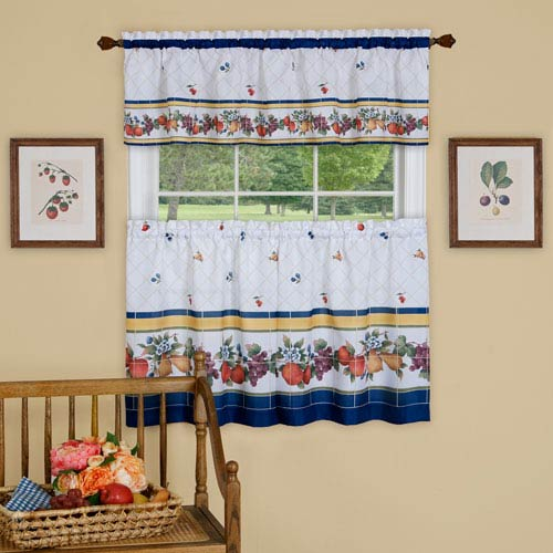 Achim Importing Company Fruity Tiles 58 X 24 Inch Tier And Valance Curtain Set