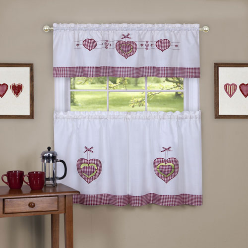 Gingham Hearts Embellished 56 x 36 In. Tier and Valance Window Curtain Set