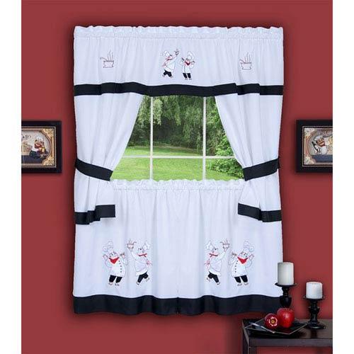 Achim Importing Company Gourmet Black Embellished Cottage Window Curtain Set