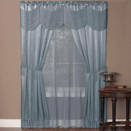 Halley Ice Blue 63 x 56 In. Six-Piece Window Curtain Set