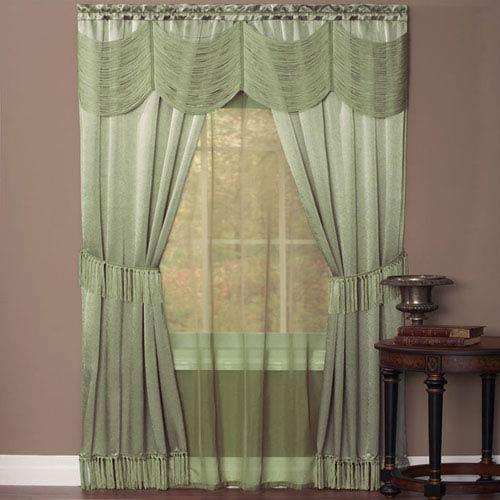 Halley Sage 63 x 56 In. Six-Piece Window Curtain Set