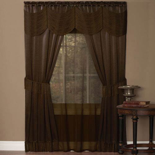 Halley Chocolate 84 x 56 In. Six-Piece Window Curtain Set