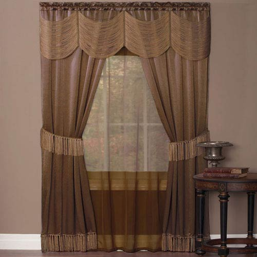 Halley Taupe 84 x 56 In. Six-Piece Window Curtain Set