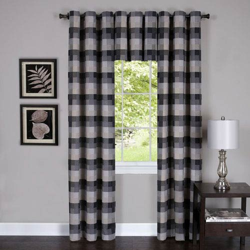 Achim Importing Company Harvard Black 63 x 42 In. Window Curtain Panel