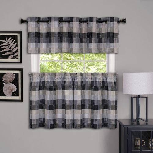 Achim Importing Company Harvard Black 57 X 24 Inch Window Curtain Tier Pair