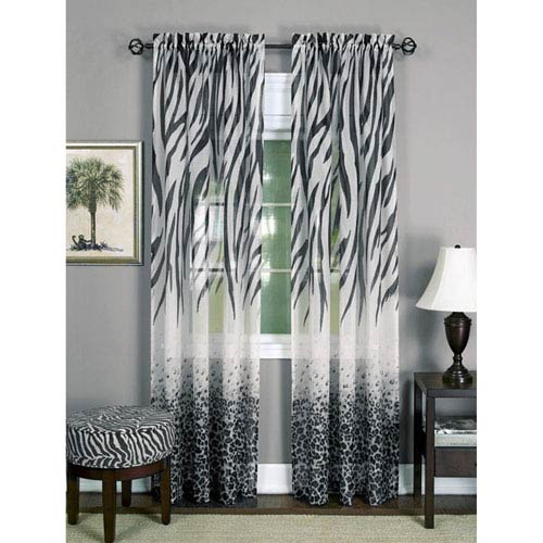 Achim Importing Company Kenya Black 63 x 50 In. Window Curtain Panel