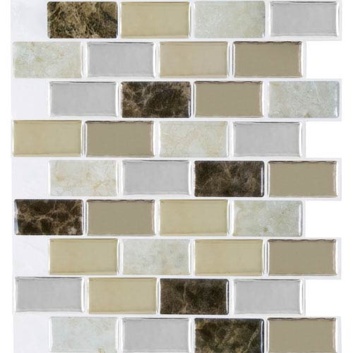 Magic Gel Bronze Granite 9.12 x 9.12 In. Self Adhesive Vinyl Wall Tile, Set of Three