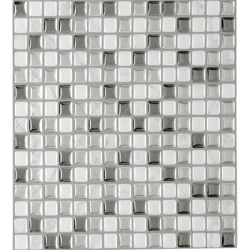 Achim Importing Company Magic Gel Silver Glass 9.12 x 9.12 In. Self Adhesive Vinyl Wall Tile, Set of Three