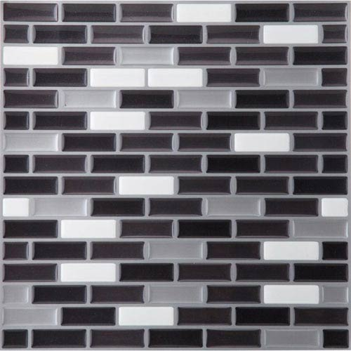 Magic Gel Silver and Black 9.12 x 9.12 In. Self Adhesive Vinyl Wall Tile