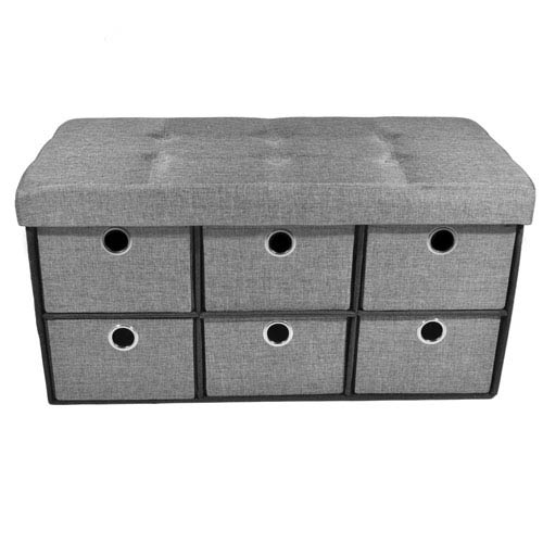 Collapsible Six-Drawer Gray Linen Storage Ottoman