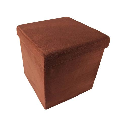Collapsible Brick Suede Storage Ottoman