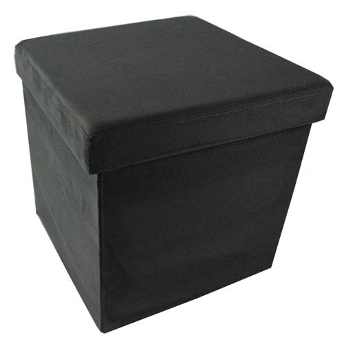 Collapsible Charcoal Suede Storage Ottoman