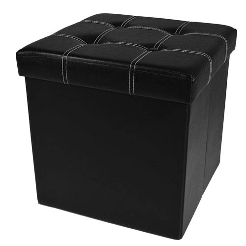Collapsible Tufted Black Faux Leather Storage Ottoman