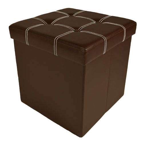 Collapsible Tufted Brown Faux Leather Storage Ottoman