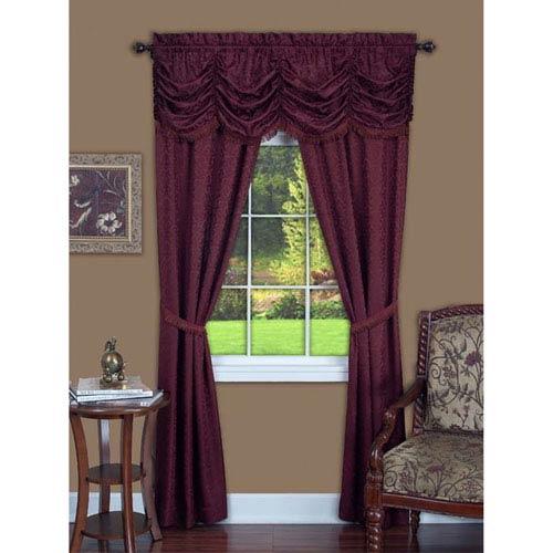Panache Burgundy 63 x 55 In. Five-Piece Window Curtain Set