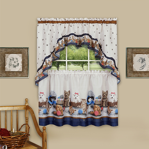 Precious Navy 57 x 24 In. Printed Tier and Swag Window Curtain Set