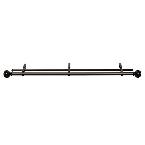 Achim Importing Company Buono II Decorative Black 72-144 In. Double Rod and Finial
