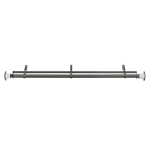 Buono II Decorative Gray and White 36-72 In. Double Rod and Finial