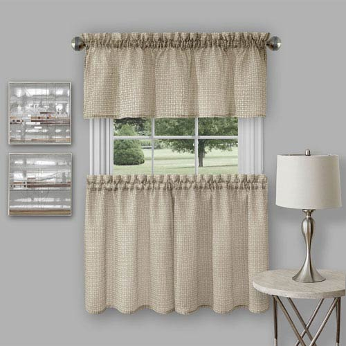 Achim Importing Company Richmond Tan Curtain Tier Pair and Valance Set
